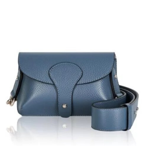 Blue Mini Cross Body Bag. Across the Body Bag with Chunky Strap, Detachable Strap