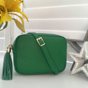 Emerald Green Genuine Leather Crossbody Bag. Box Clutch Bag. Detachable Strap