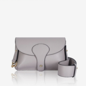 Light Grey Mini Crossbody Bag. Across the Body Bag with Chunky Strap, Detachable Strap