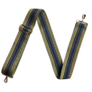 Navy Blue & Yellow Mix Aztec Print Bag Strap - Detachable Bag Strap - Spirit & Grace Style