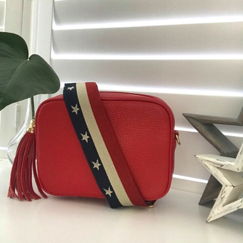 Fire Engine Red Geniune Leather Crossbody Bag. Box Clutch Bag. Red, White & Blue Stars & Stripes Detachable Strap