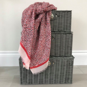Red Mini Spots Scarf with Red Stripe & Pale Pink Border - Spirit & Grace Style