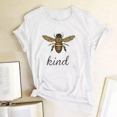 White Bee Kind Graphic Print T-Shirt - Spirit & Grace Style