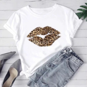 White Leopard Lips Graphic Print T-Shirt - Spirit & Grace Style
