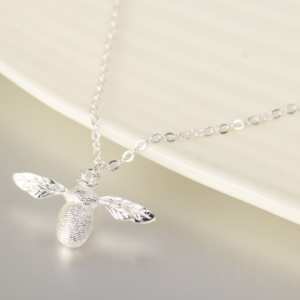 Sterling Silver Bumble Bee Pendant Necklace - White Leaf - Spirit & Grace