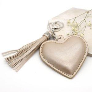 Champagne coloured padded heart shaped keyring/bag charm by Peace of Mind