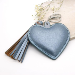 Metallic Blue padded heart shaped keyring/bag charm by Peace of Mind