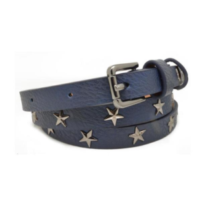 PU Leather Belt Slim Leather Stud Belt. Navy Star Studded Belt