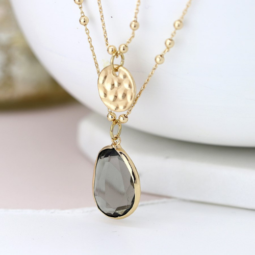 Gold plated disc & smoky grey crystal double layered necklace