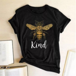 Black Bee Kind Graphic Print T-Shirt - Spirit & Grace Style