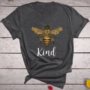 Grey Bee Kind Graphic Print T-Shirt - Spirit & Grace Style