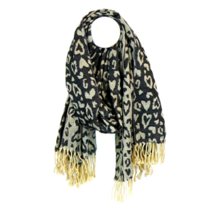 Black-grey-reversible-jaquard-weave-scarf-heart-shaped-animal-print-womens-accessories-boutique-windsor-spirit-grace-style