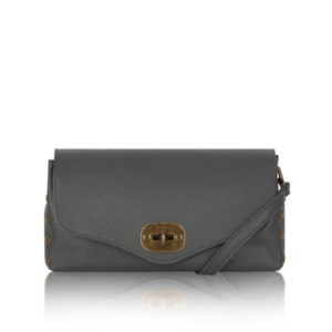 Grey Twist Lock Studded Leather Bag - Shoulder Bag - Clutch Bag - Crossbody Bag - Spirit & Grace Style