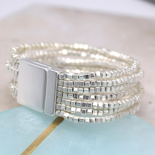 Multi layered bracelet with silver plated cube shaped beads