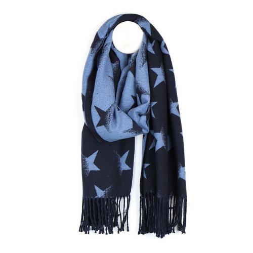 Reversible Navy & Mid Blue Star Scarf