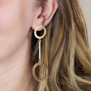 Scratched Golden Double Circle Drop Earrings - Spirit & Grace Style