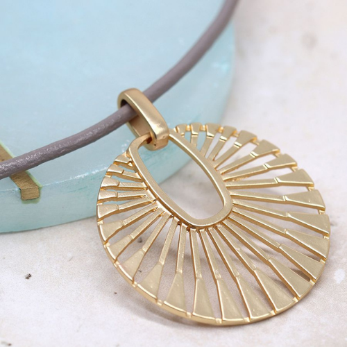 Short Taupe Neckace with Gold Sun Ray Disc Pendant