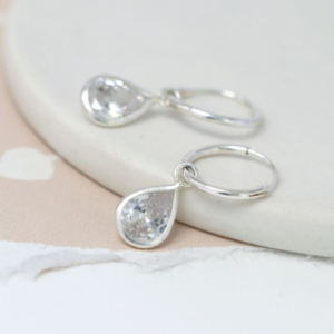 Sterling silver hoop earrings with CZ crystal teardrops - Spirit & Grace Style
