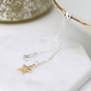 Adjustable Silver & Gold plated Double Star Lariat Necklace - Jewellery - Spirit & Grace Style