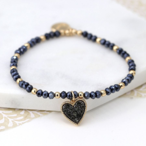 Black crystal and golden bead bracelet with heart charm - Jewellery - Spirit & Grace Style
