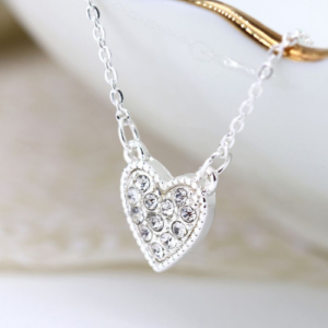 Clear crystal & silver-plated Heart Pendant Necklace - Jewellery - Spirit & Grace Style