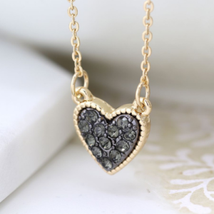Black crystal & Gold Heart Pendant Necklace - Jewellery - Spirit & Grace Style