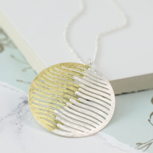 Short Silver & Gold Brushed Effect Circular Wave Pendant Necklace - Jewellery - Spirit & Grace Style
