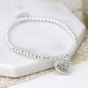 Silver crystal bead bracelet with heart charm - Jewellery - Spirit & Grace Style