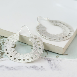 Silver plated scratched finish bevelled loop earrings - Jewellery - Spirit & Grace Style